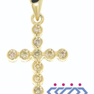 Solid 14K Yellow Gold Cross Diamond Fine Pendant